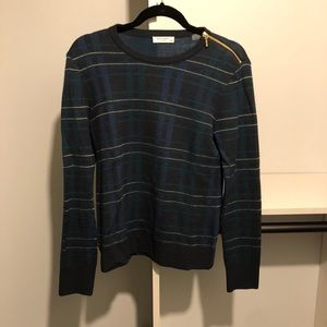 Equipment Plaid Sweater with Zipper Detail